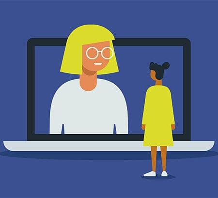 Illustration von zwei Frauen die via Videocall miteinander sprechen