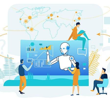 Illustration eines Bildschirm mit einem Roboter der Aufgaben erledigt