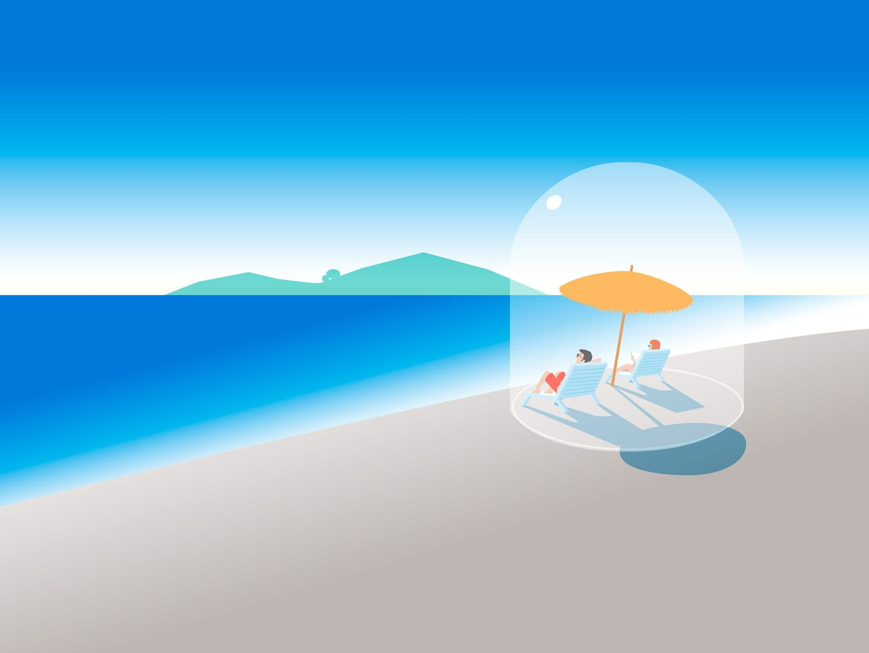 Illustration von zwei Menschen die am Strand sitzen und von einer Glaskugel umhüllt sind
