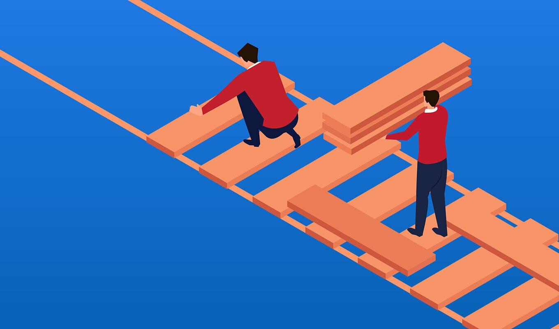 Zwei Menschen bauen eine Holzbrücke. Vorn legt eine Person, die kniet, die Bretter auf Seite, dahinter steht eine zweite Person mit einem Stapel Bretter. Illustration.