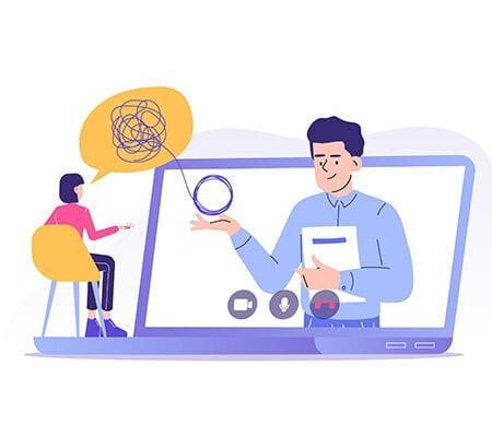Unternehmensverkauf online: Illustration bei der eine Frau am linken Bildrand auf einem Stuhl sitzt, der auf einem aufgeklappten Laptop steht. Aus dem Bildschirm heraus kommt ein Mann, der ein WOllknäuel in der Hand hat, das er mit der Frau teilt.
