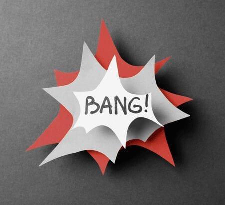 Comic-Sprechblase mit der Aufschrift Bang!
