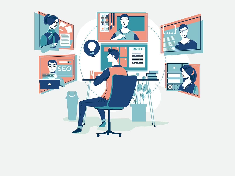 Illustration einer im Homeoffice arbeitenden Person