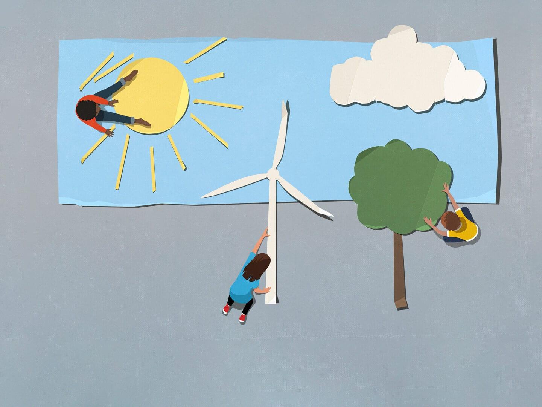 Sonne und Wind als erneuerbare Energiequellen