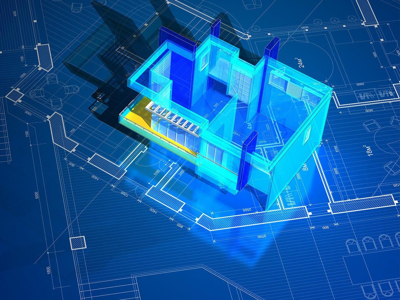 Vogelansicht eines digitalisierten Gebäudes vor blauem Hintergrund