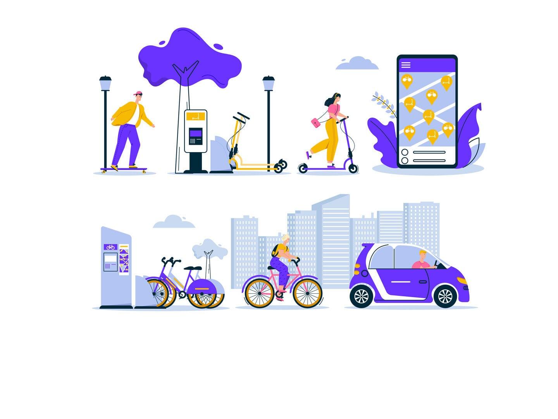 Eine Illustration, die verschiedene Alltagssituationen mit Sharing-Modellen darstellt. Eine Frau fährt E-Scooter, eine Smartphone App mit Standorten, eine Ausleihstation für Fahrräder, eine Person fährt Fahrrad und eine andere Auto.