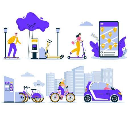 Illustration von fünf Alltagssituationen im Bezug auf Sharing-Modelle: Eine Frau fährt auf einem E-Scooter, eine Smartphone App mit Standorten, eine Ausleihstation für Fahrräder, eine Person, die auf einem Fahrrad fährt und jemand der Auto fährt.
