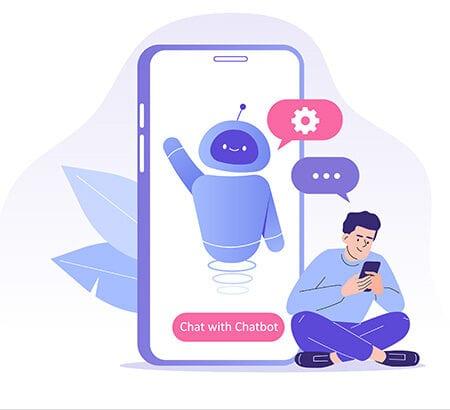 Illustration eines Mannes der mit einem Chatbot kommuniziert