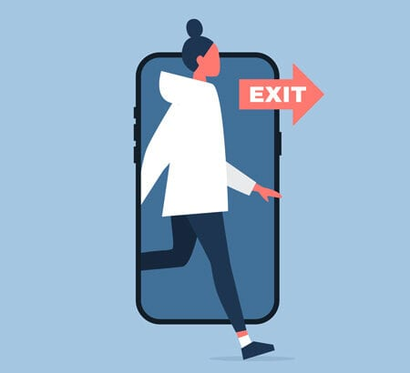 Digital Detox: Illustration einer Frau die buchstäblich aus dem Bildschirm aussteigt