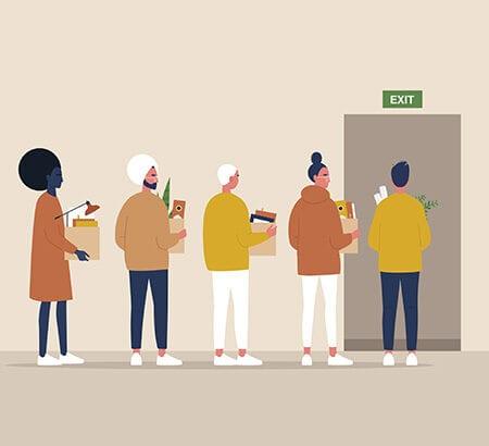 Zeichnung von Menschen die ein Gebäude verlassen