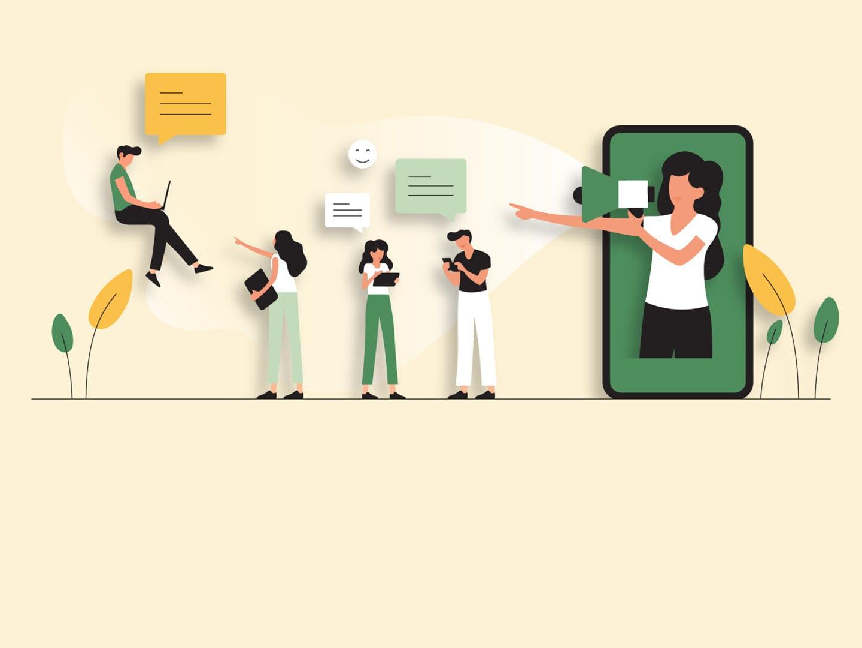 Illustration von einer Frau die auf einem Bildschirm abgebildet ist und ein Megafone in der Hand hält