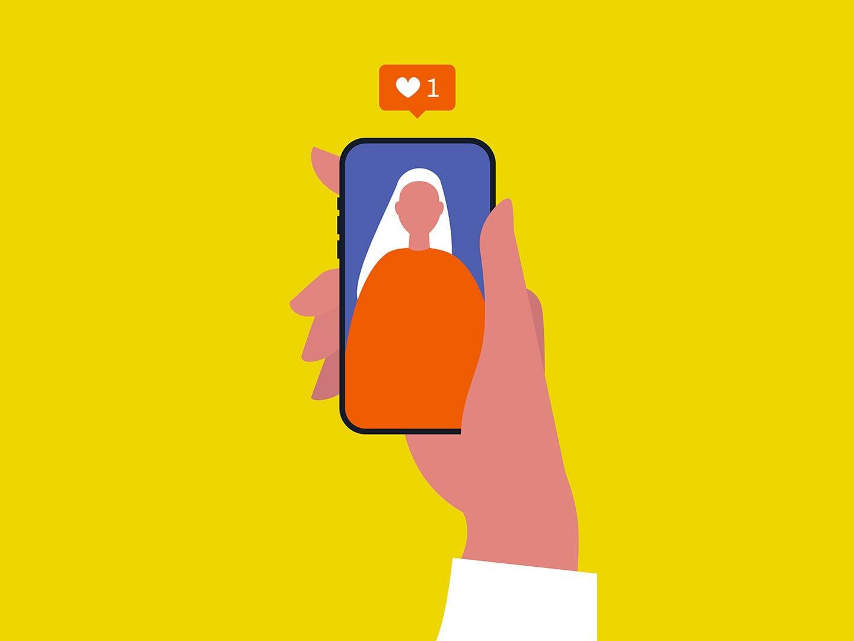 Illustration eines Smartphone auf dem eine Influencerin zu sehen ist, darüber ein Like