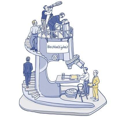 Illustration eines riesigen Mikroskops auf den Menschen stehen und ein Schild mit Nachhaltigkeit