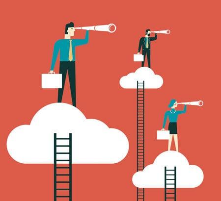 Recruiting: Illustration von drei Menschen die auf einer Wolke stehen und mit einem Fernrohr Ausschau halten