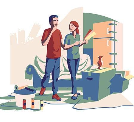 Illustration eines Pärchen, das ihr zu Hause renoviert
