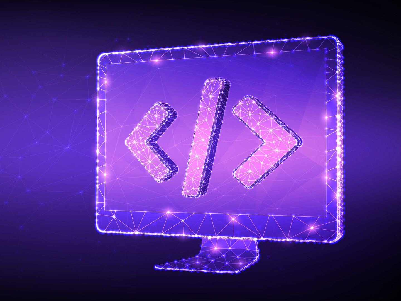 Ein Code-Zeichen auf einem Bildschirm