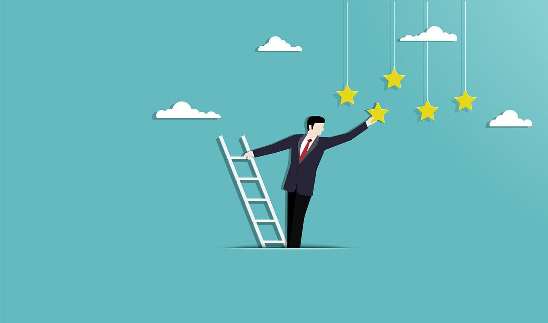 Illustration eines Unternehmers, der nach Sternen greift