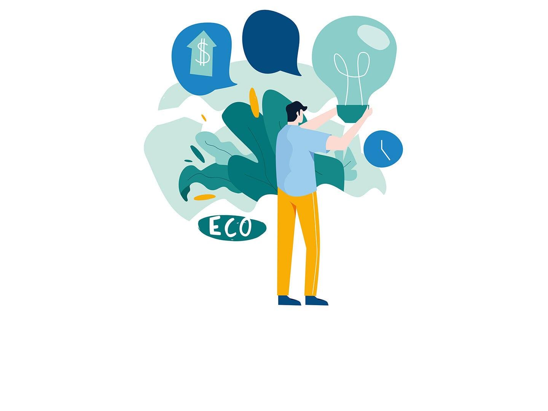 Illustration eines Unternehmer mit einer symbolischen Nachhaltigkeitsstrategie
