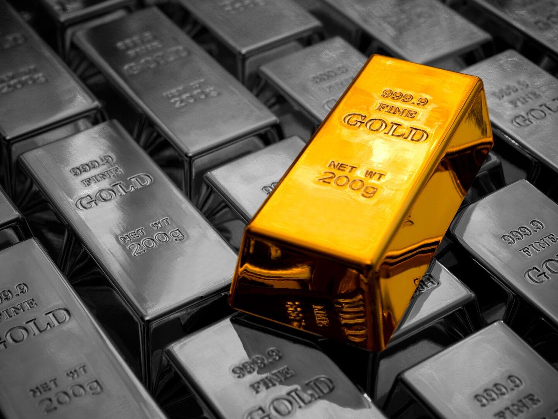 Ein Stapel Goldbarren
