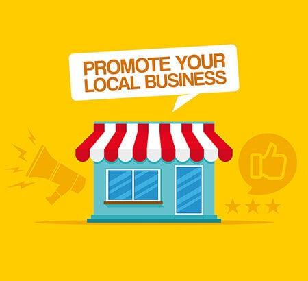 Illustration eines Geschäftes mit einer Sprechblase, in der steht: Promote your local Business