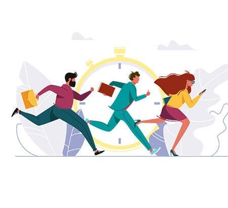 Illustration von drei Menschen die buchstäblich gegen die Zeit laufen
