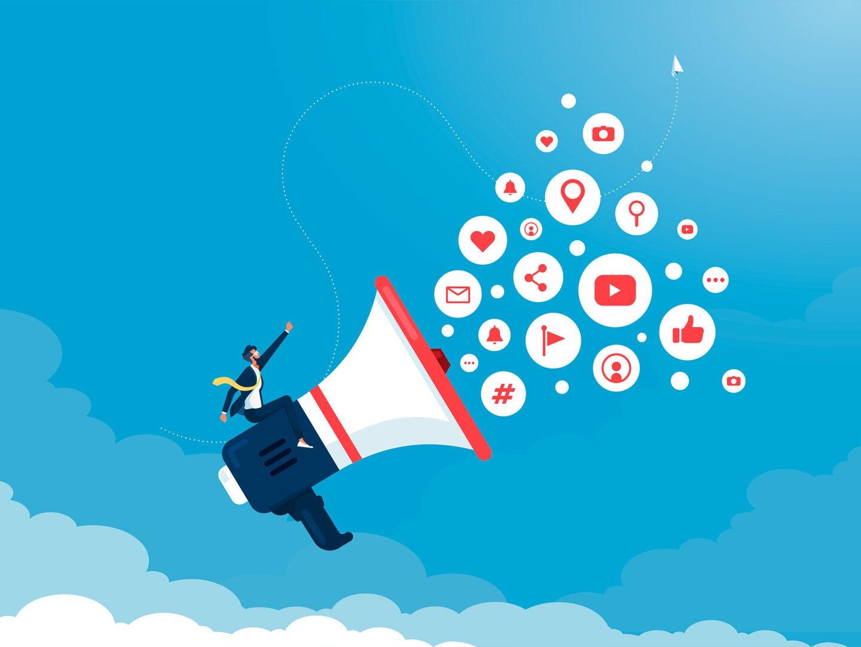 Illustration eines Unternehmers mit einem Megaphone, aus dem verschiedene Icons mit Symbolen von unterschiedlichen Kanälen rauskommen