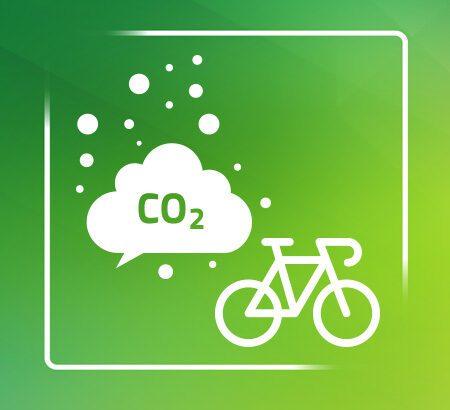 Eine CO2 Wolle und ein Fahrrad auf grünem Hintergrud