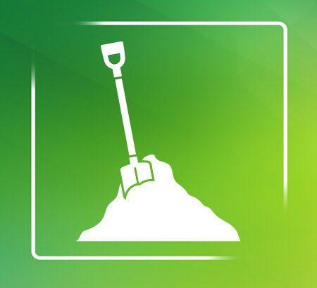 Zeichnung einer Schaufel auf grünem Hintergrund