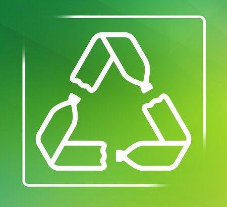 Zeichnung Recycling-Symbol auf grünem Hintergrund