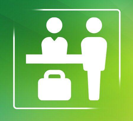 Zeichnung Geschäftsmenschen vor grünem Hintergrund