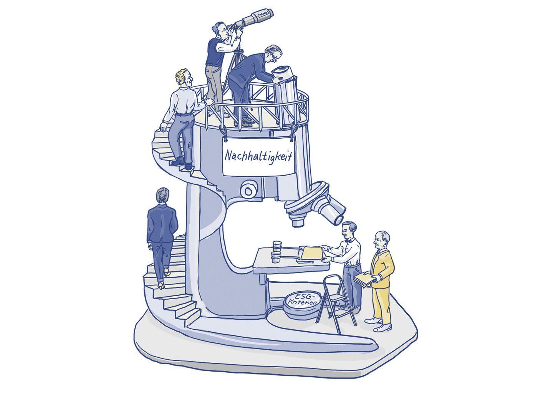 Illustration eines Mikroskops, mit dem Nachhaltigkeit untersucht wird.