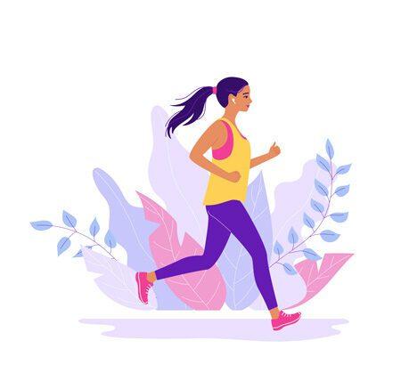 Illustration einer joggenden Frau vor Blättern und Ästen