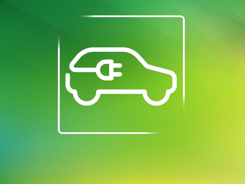 Illustration von einem E-Auto mit einem Stecker