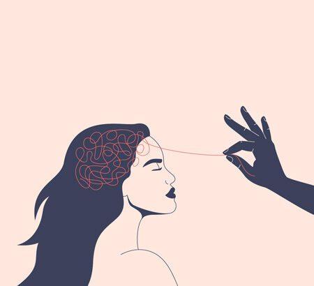 Illustration einer Frau, an ihrem Kopf ist ein Knäul aus Fäden, das eine Hände wird durch eine Hand weg gezogen
