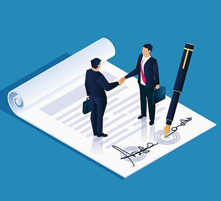 Illustration eines Vertrages mit einem Stift auf dem zwei Männer stehen, die die Hände schütteln