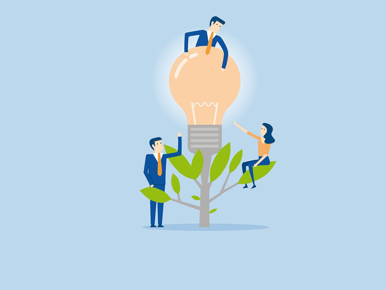 Illustration einer Glühbirne auf einem Baum mit Männern und Frauen drum herum