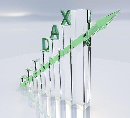 Ein 3D-Säulendiagramm mit der Aufschrift Dax.