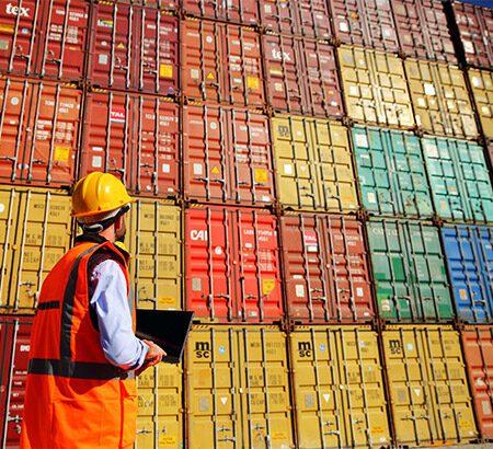 Mann steht mit Helm und Laptop vor einer Wand aus Schiffscontainern und blickt darauf.