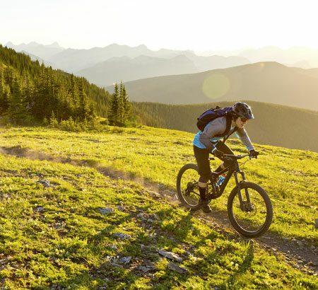 Mann mit Mountainbike in den Bergen