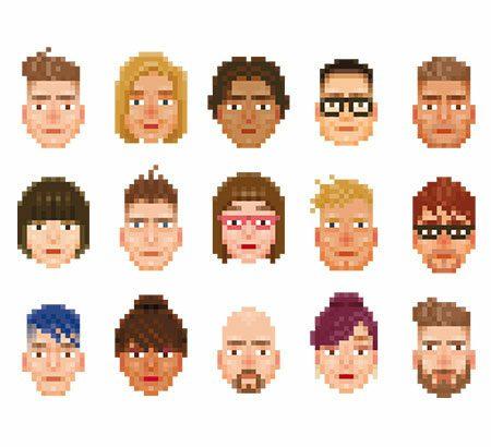 Verschiedene, leicht verpixelte Portraits unterschiedlicher Menschen. Mit unterschiedlicher Hautfarbe, Haarfarbe, Frisuren. Frauen und Männer.