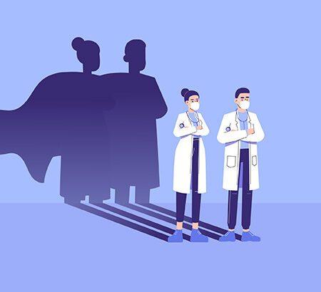 Zwei Ärzte, deren Schatten ein Superhelden-Umhang tragen