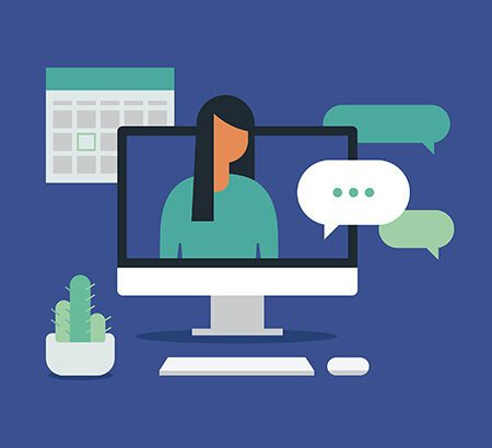 Illustration von einer Frauen im Bildschirm, die auf d2c hinweisen soll