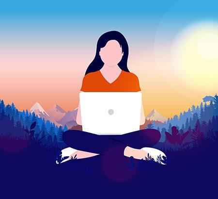 Illustration einer Frau die bei Mondschein vor dem Laptop sitzt