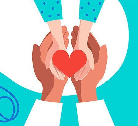 zwei Hände - eine von einem Arzt, die andere vom Patienten - halten gemeinsam ein Herz in der Hand