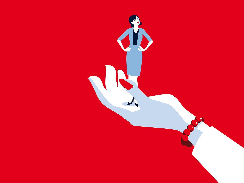 Illustration einer Hand auf der eine Businessfrau steht