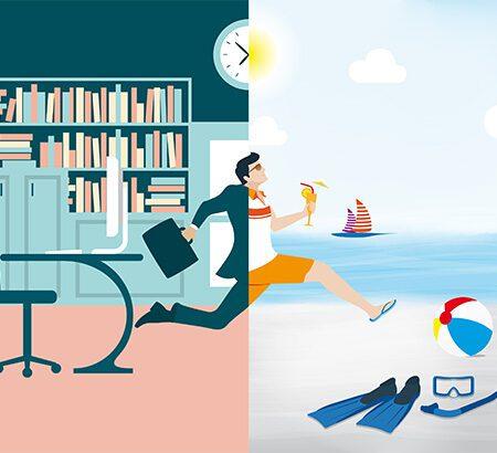 Sabbatical: Illustration eines Arbeitnehmers der aus der Arbeitswelt in die Urlaubswelt läuft