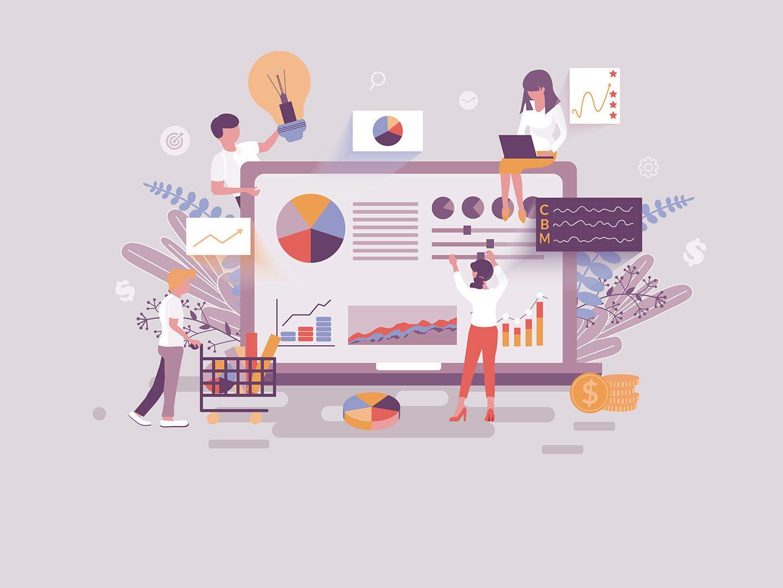Illustration von mehreren Mitarbeitenden einer Agentur die im Team arbeiten