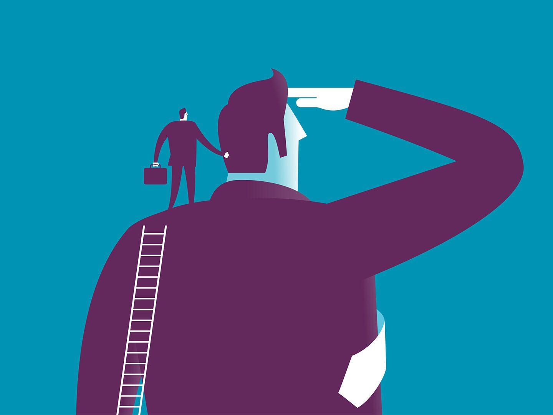 Illustration eines Unternehmers der in die Zukunft blickt