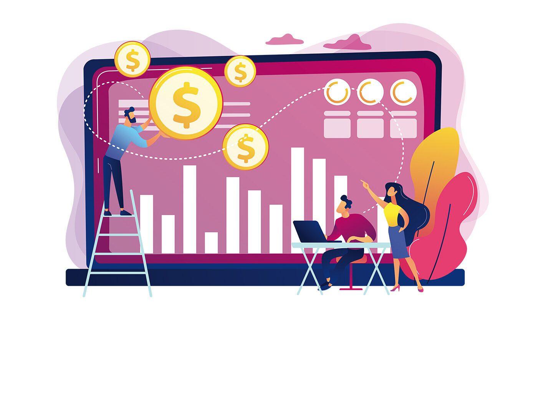 Illustration Unternehmensverkauf - großer Bildschirm mit Charts und Grafiken und ein Mann steht auf der linken Bildseite auf der Leiter und jongliert mit Dollar-Münzen.