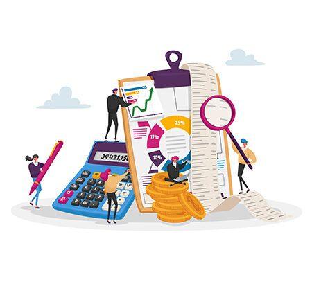 Illustration: Menschen sind um Taschenrechner, Flipcharts und statistischen Diagrammen grupiert. Es geht um den Unternehmensverkauf.